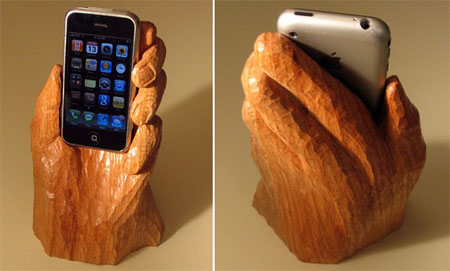 The overpriced wooden hand iPhone Holder