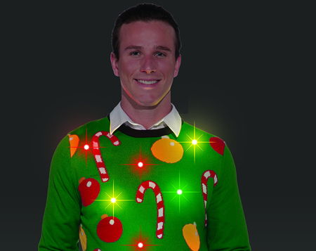 Flashing Lights Ugly Christmas Sweater
